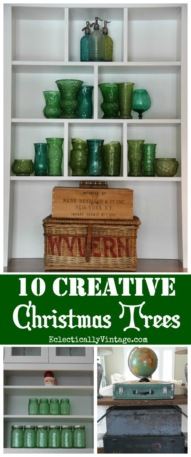 10 Creative Christmas Trees - such fun ideas for a one of a kind look eclecticallyvintage.com