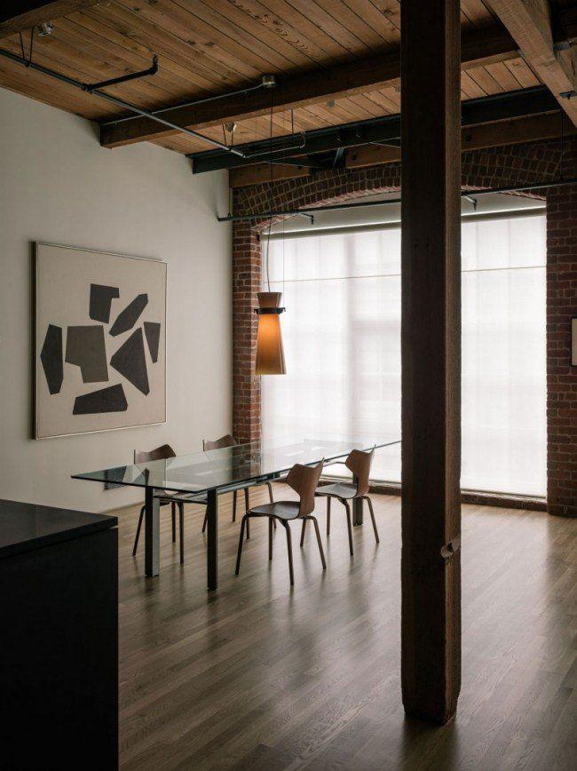 salle à manger design original panneau en verre de forme rectangulaire