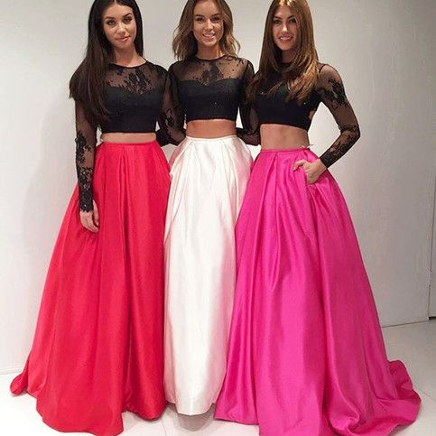 189usd.Two Pieces Prom Dresses,Long Party Dresses for Teens,Prom Dresses with Pocket