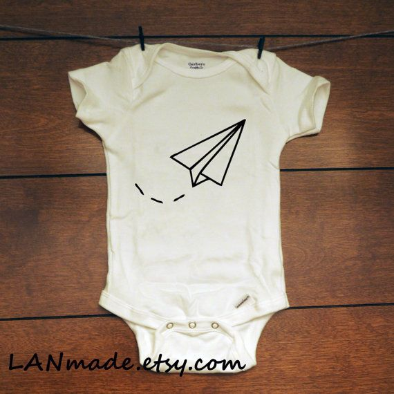 Baby Boy or Girl Trendy Paper Airplane in Flight Onesie Bodysuit Graphic Tee