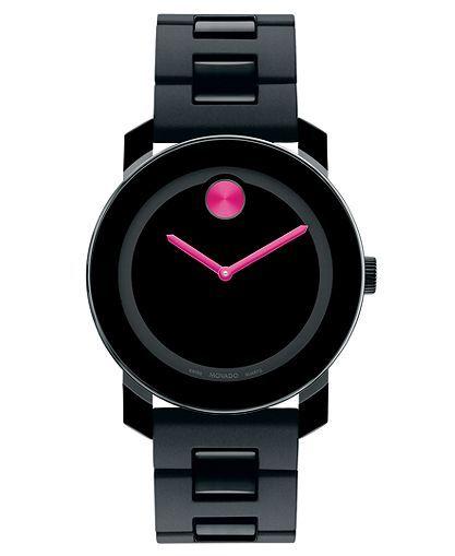 Movado Watch, Swiss Bold Medium Black Polyurethane Bracelet 36mm 3600095 - Women's Watches - Jewelry & Watches - Macy's