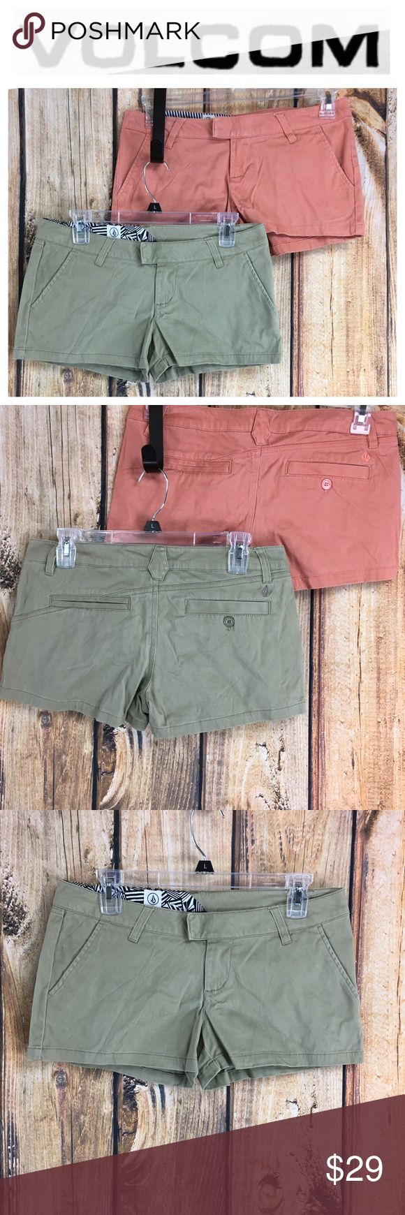 """💸Set of two Volcom shorts in size 5 💸Set of two Volcom shorts in size 5   Measurements are approximate  Inseam 2"""" Rise 7"""" Waist laying flat 15 1/2"""" across   Shorts are tan and peach colored, both in size 5 with same measurements.  Gentle user wear. No tears holes or stains. Overall in VERY GOOD preOwned condition. 0218ssg3#3220 Volcom Shorts"""
