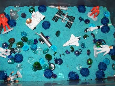 April's Homemaking: Moon Sand Outer Space Sensory Bin Activity