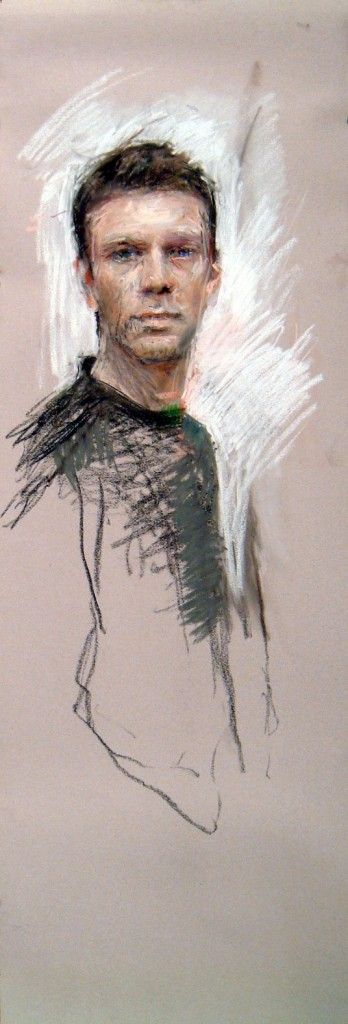Pastel Marvels: Ben Henriques, Self Portrait, pastel, 50 x 16 in