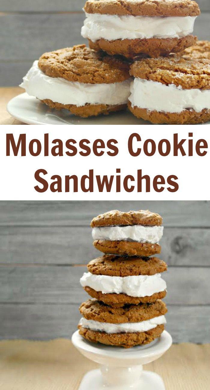 Molasses Cookie Sandwiches   Recipe   Vanilla ice cream