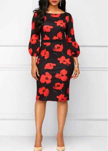 Three Quarter Sleeve Flower Print Red Sheath Dress on sale only US$32.53 now, buy cheap Three Quarter Sleeve Flower Print Red Sheath Dress at liligal.com