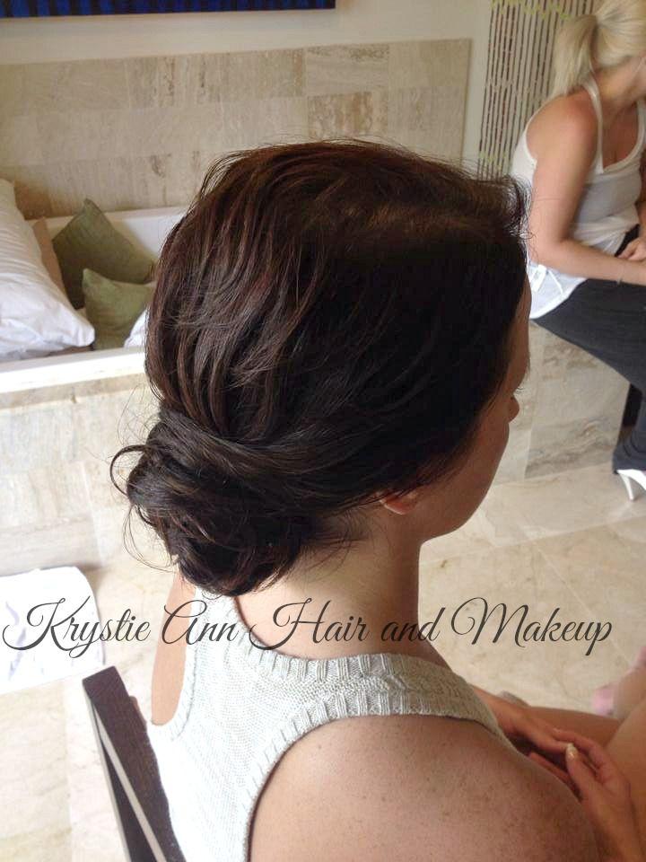 Hair: www.krystieann.com  Wedding hair, bridal hair, updo, wedding hairstyles, elegant hair, bun, low bun, beach wedding hair, brunette updo, punta cana wedding, melia caribe tropical