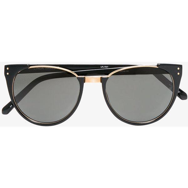 Linda Farrow 136 C1 Sunglasses ($590) ❤ liked on Polyvore featuring accessories, eyewear, sunglasses, black, linda farrow sunglasses, linda farrow eyewear, linda farrow glasses and linda farrow