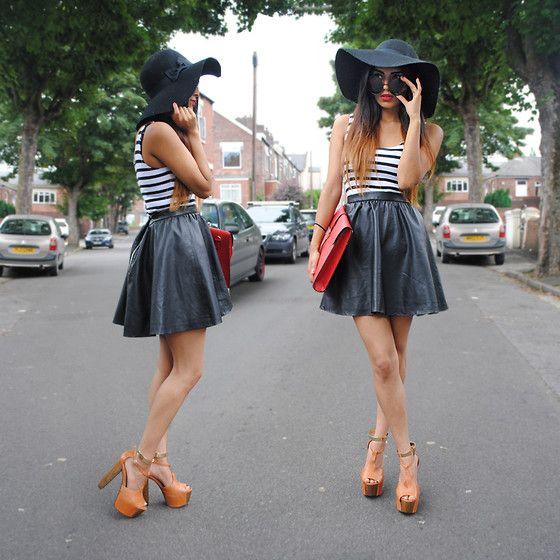 Asos Bitten Platform, Gold Ankle Cuffs, Red Envelope Clutch, Floppy Summer Hat, Circle Sunglasses, H Faux Leather Skater Skirt