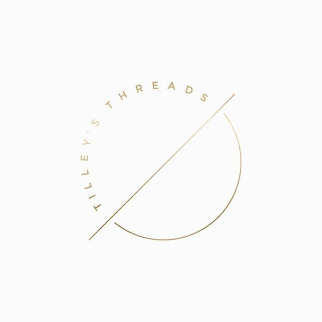 alternative mark for Tilley's Threads, a fashion blog design, white and gold logo, logo design, wordpress theme, mood board inspiration, blog design idea, graphic design, branding, style blog, fashion, food blog design, food blog logo, style blog logo