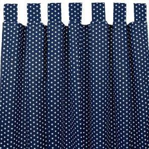 Vorhang/Gardine mit Schlaufen oder Kräuselband dunkelblau Sterne weiß