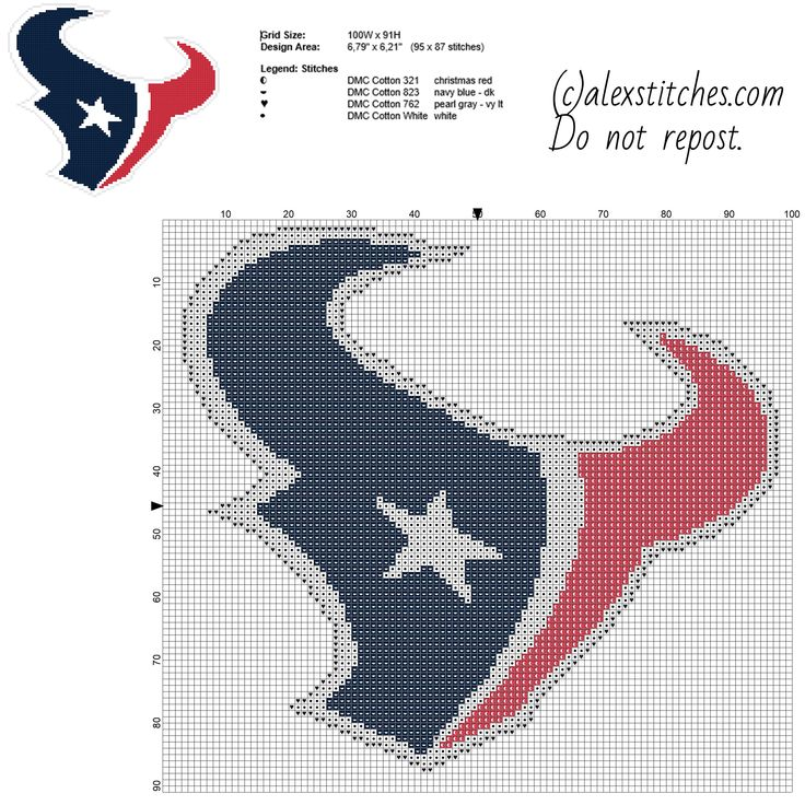 Houston Texans National Football League NFL Team free cross stitch pattern made with PcStich software