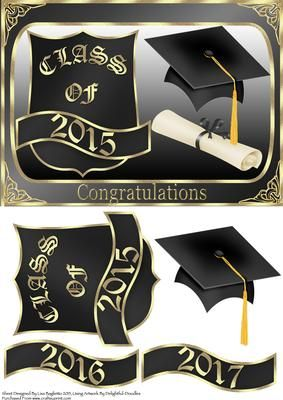 Congratulations Class Of 2015 16 17 Graduation Card on Craftsuprint designed by Lisa Baglietto - This is an updated version of this design with new dates, it is a really simple but stylish design. It is suitable for a male or female graduate. I have included extra plates for 2016