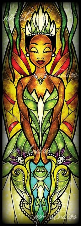 Princess Tiana stained glass window. I would so replace windows in my House with these!