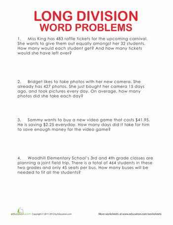 Worksheets: Long Division Word Problems