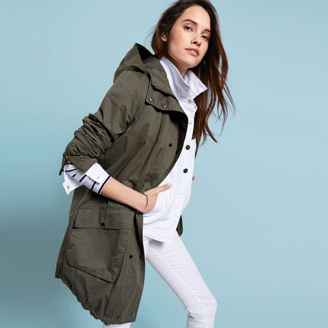 Cotton Hooded Parka with Elbow Patches