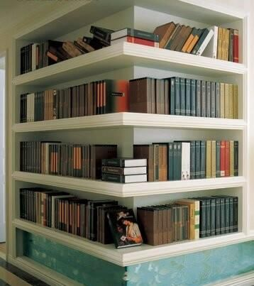 Creative bookcase---- for the corner in the dining room where the chimney used to be ??