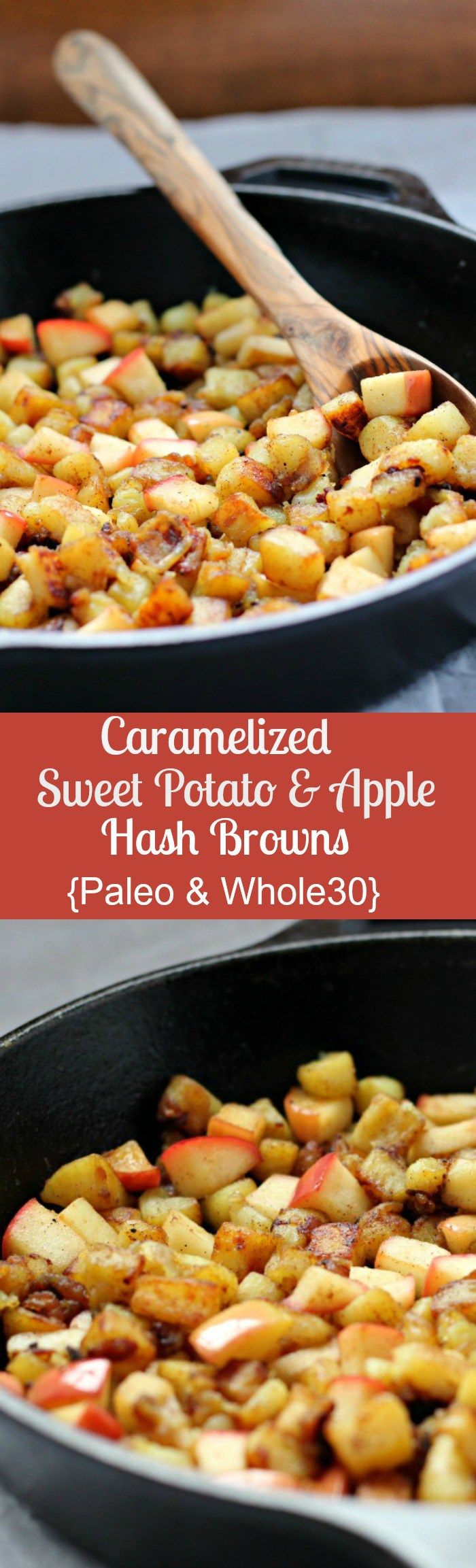 Caramelized sweet potato and apple hash browns - paleo and whole30 - make with a white or orange sweet potato - so simple and incredibly delicious!