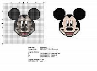Disney cartoons Mickey Mouse face free and small cross stitch pattern