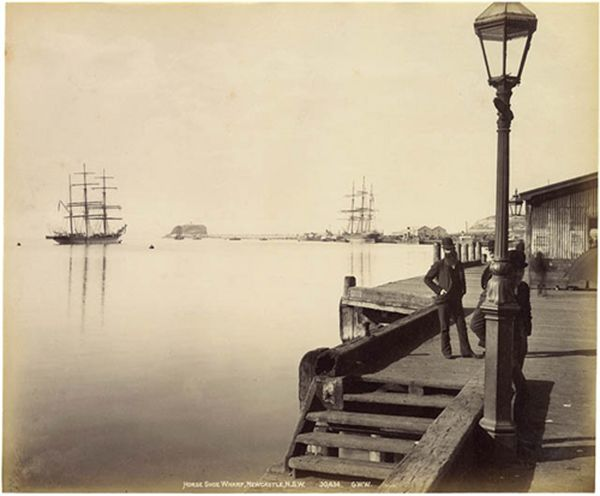 Horse Shoe Wharf, on the Hunter River, Newcastle, NSW 1892. v@e.