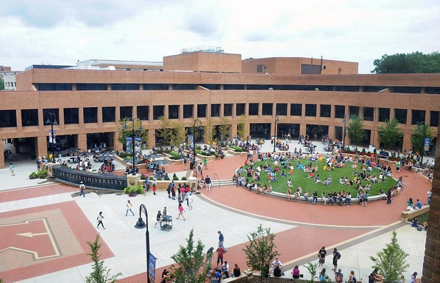 The windy student center plaza.  Kent State University has surpassed last year's record enrollment number to achieve a new all-time high with 42,185 students for the fall 2011 semester