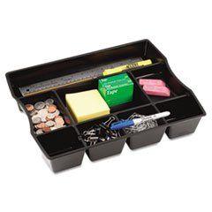 ** Nine-Compartment Deep Drawer Organizer, Plastic, 14 7/8 x 11 7/8 x 2 1/2, Black **  #4COU #Home