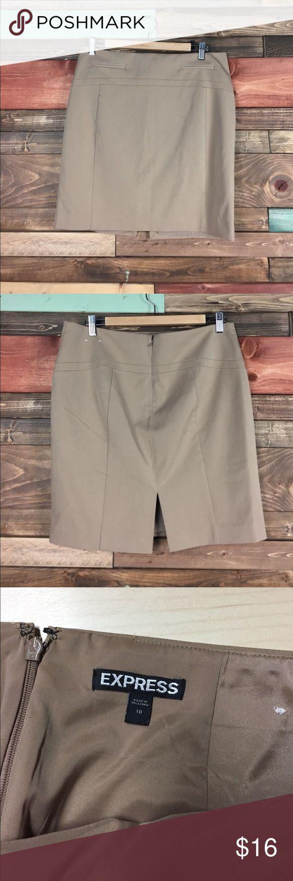 "Express Khaki Pencil Skirt 10 Express Khaki Pencil Skirt 10 // Lined.   // Waist: 17"" laying flat // Length: 18"" Express Skirts"