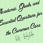 This document puts the common core into academic goals and essential questions in a cute, but simple format.  Actual standard numbers are on the bo...
