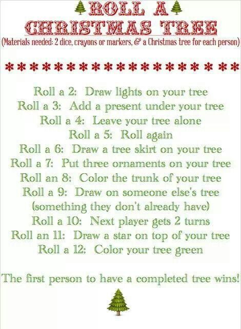 Draw a Christmas tree - dice game