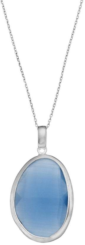 Sterling Silver Lab-Created Blue Cat's-Eye Oval Pendant