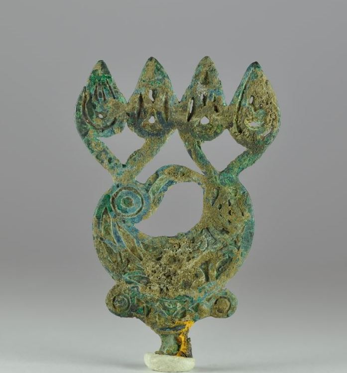 Eurasian art, Scythian bronze pin head, 7th-4th century B.C. Eurasian art, Scythian bronze openworked pin head in form of animal, 8.2 cm high. Private collection