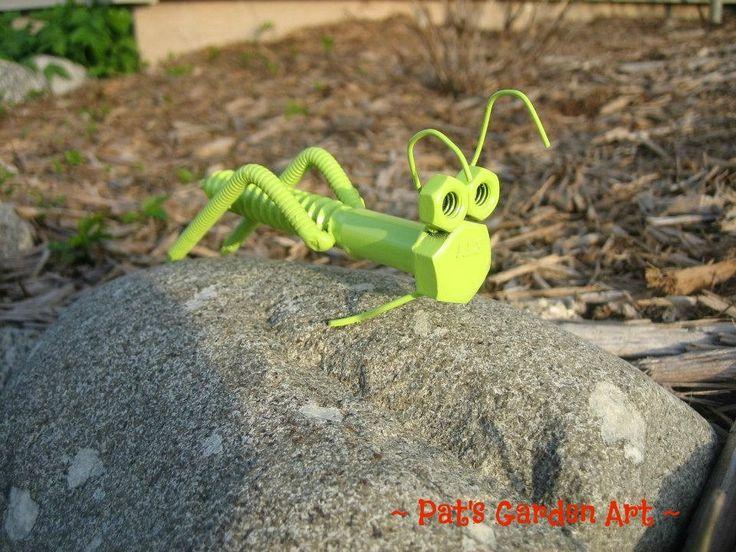 Lime Green Grasshopper Recycled Metal Garden Art by PatsGardenArt