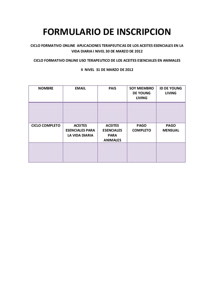 formulario-de-inscripcion-ciclo-online-aceites-esenciales-eac by Grupo Young  Living Latino via Slideshare