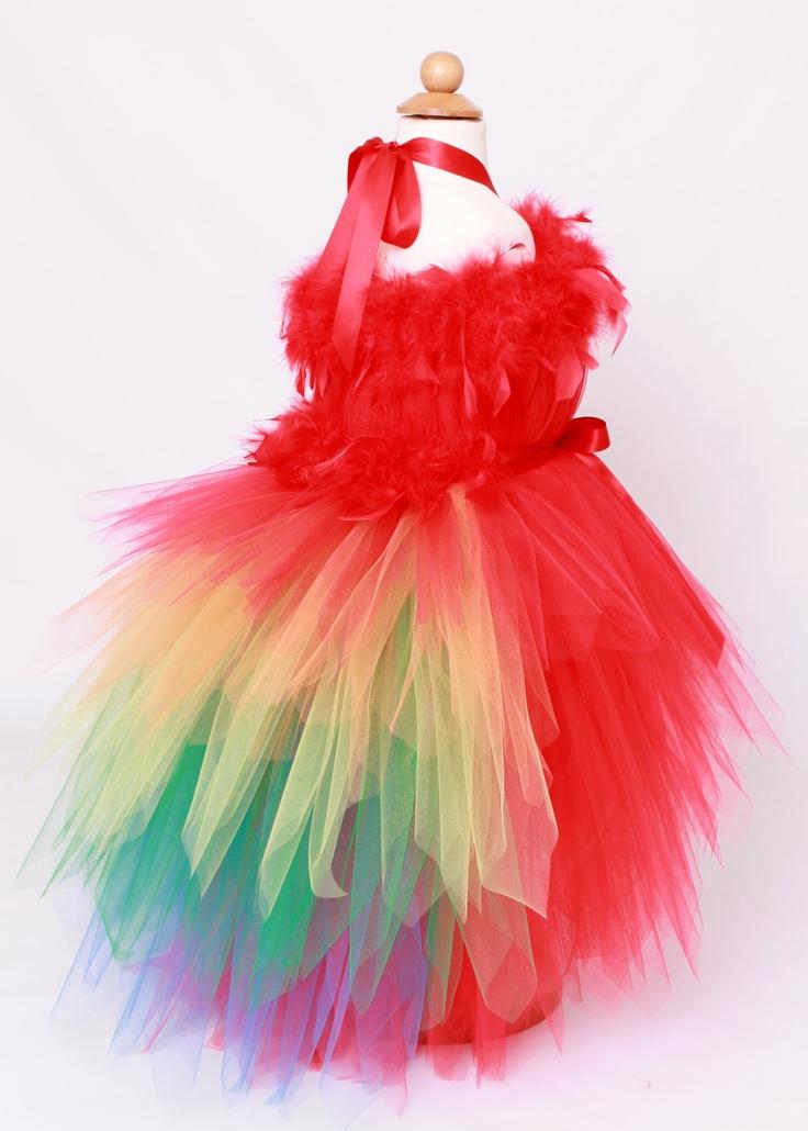 Tutu dress paradise parrot red amp rainbow scarlett macaw halloween