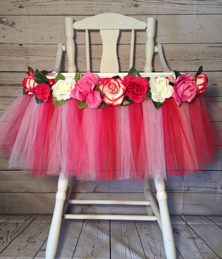 Pink Red & White High Chair Tutu- High Chair Skirt-Valentines tutu-Highchair skirt-Pink and Red 1st Birthday- Pink Red White  High Chair Tu by AvaryMaeInspirations on Etsy
