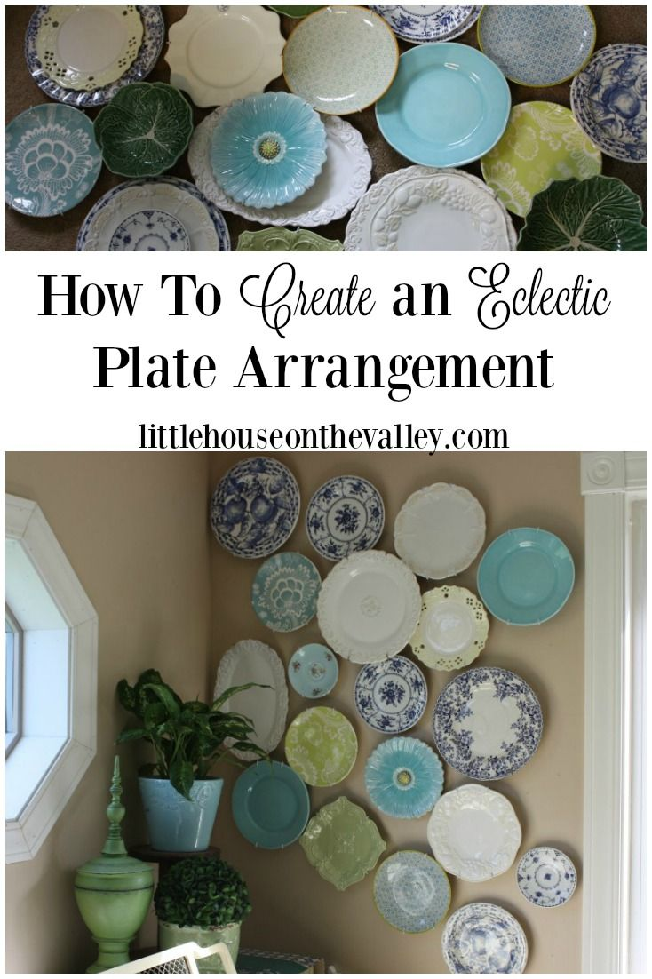 Do you love to decorate with plates? Here is my step-by-step process to creating a fun eclectic plate arrangement on my living room wall. www.littlehouseonthevalley.com