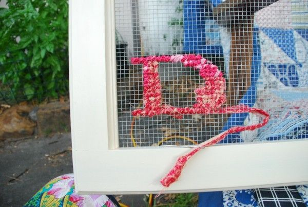 cross stitch on mesh wire....YES PLEASE :) a wonderful way to use scrap fabric that i haven't been able to part with!!!!