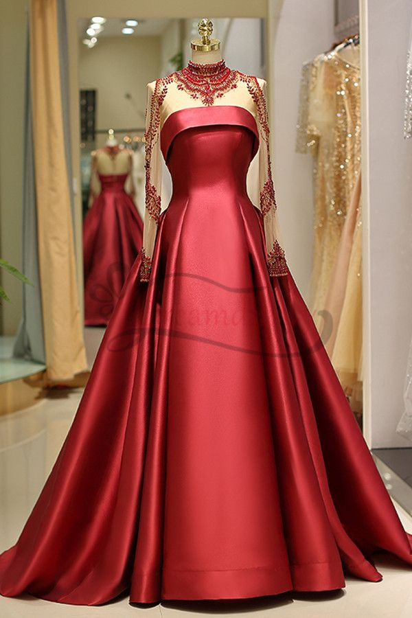 Exquisite Long Sleeve Red Satin Beading Long Prom Dress in 2019 ... 41c9c116c669