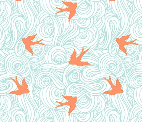 In the Clouds, Turquoise and Tangerine fabric by sparrowsong on Spoonflower - custom fabric