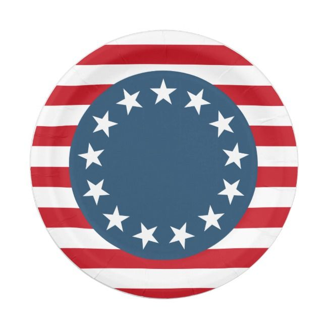 Colonial American Flag Stars And Stripes Patriotic Paper Plate Zazzle Com American Flag Art American Flag Stars American Flag