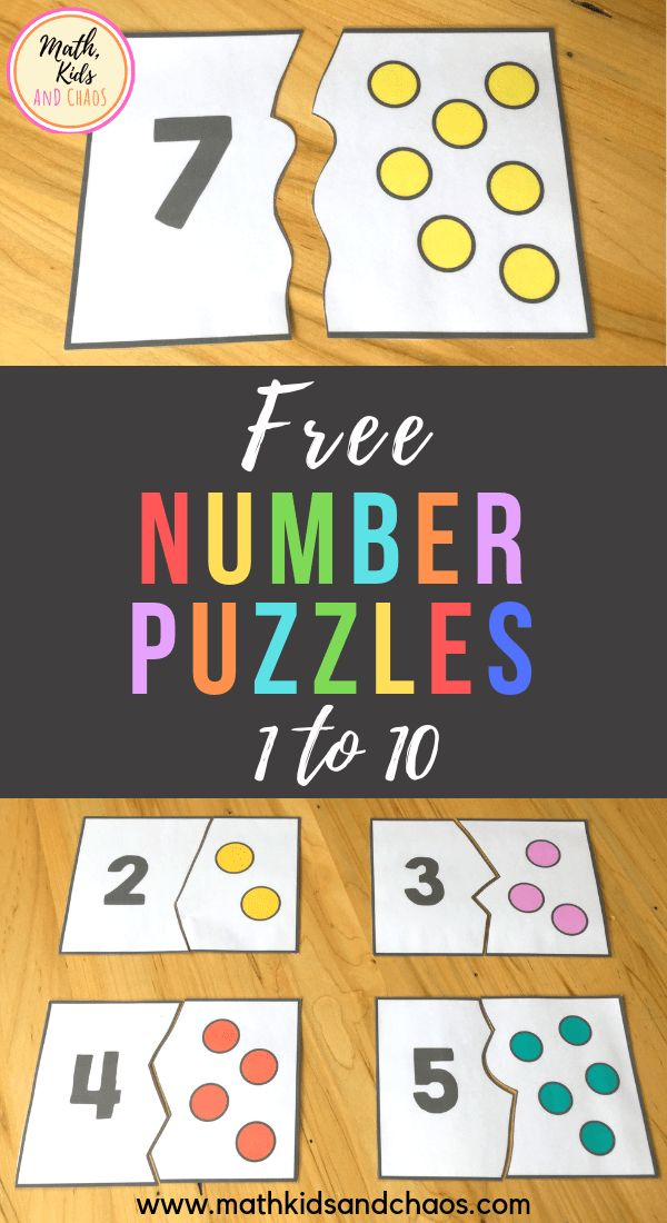 FREE number puzzles for the numbers 1 – 10. These …
