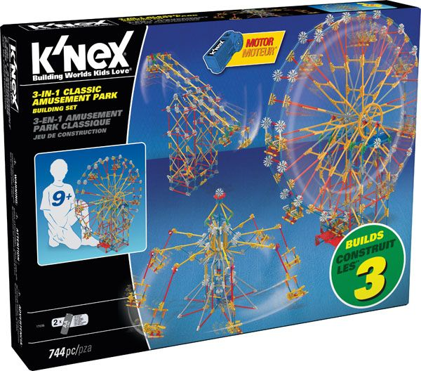 K'NEX 3-In-1 Classic Amusement Park Building Set - Just pulled from the K'NEX vault, the 3-in-1 Classic Amusement Park Building Set. One of the original K'NEX Building Sets, the 3-in-1 Classic Amusement Park replicates everything that K'NEX was built around and still stands for! Motorized movement sends the 744 classic K'NEX parts and pieces on a ride of a lifetime.