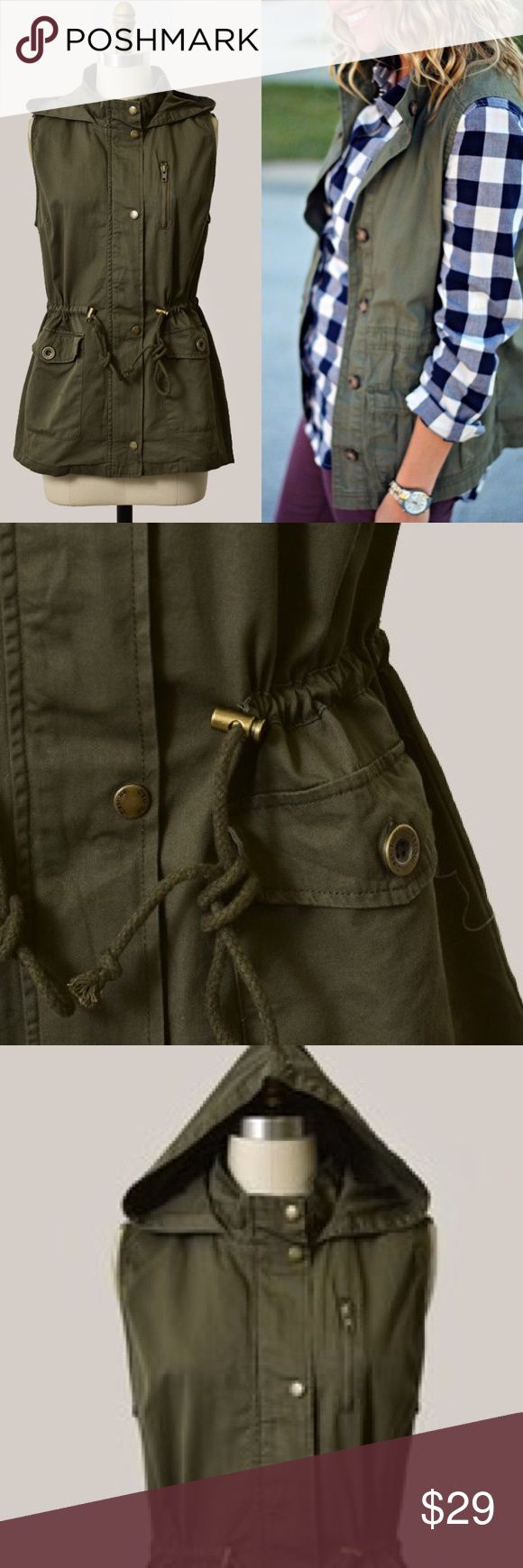 """New! Olive Green Hooded Utility Vest 100% Cotton, 27"""" In Length, 19"""" from Underarm to Underarm Jackets & Coats Vests"""