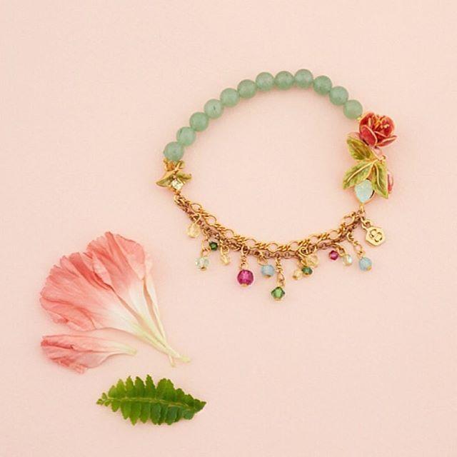 || Fuchsia Stretch Bracelet ||  #BillSkinner #Fuchsia #floraljewellery #swarovski #handpainted #enamel