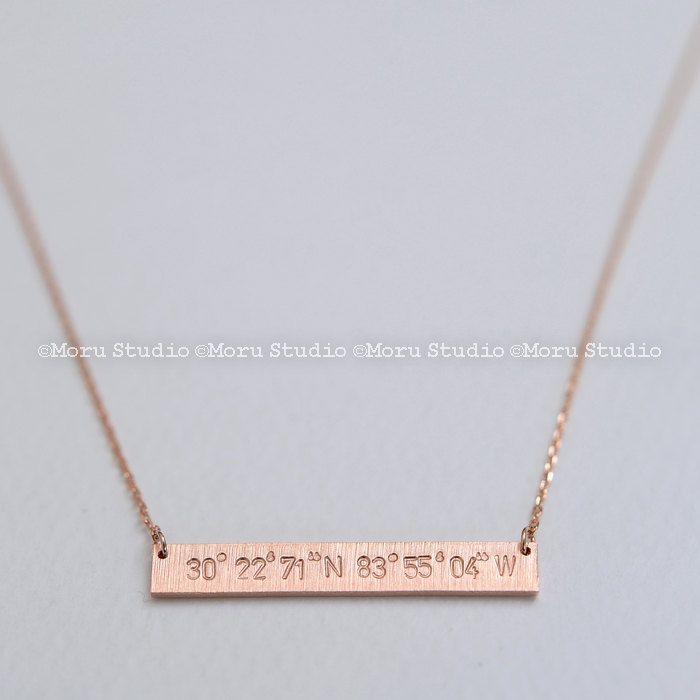 Coordinates Necklace/ Medium Bar Customized with your Latitude & Longitude! Personalized Coordinates Necklace/ GPS/ Hand Stamped NBR007-3 by MoruStudio on Etsy
