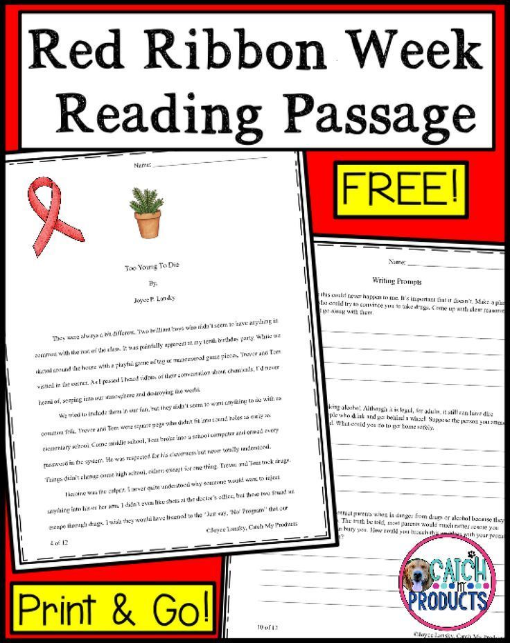 Drug and alcohol education reading passages teaching