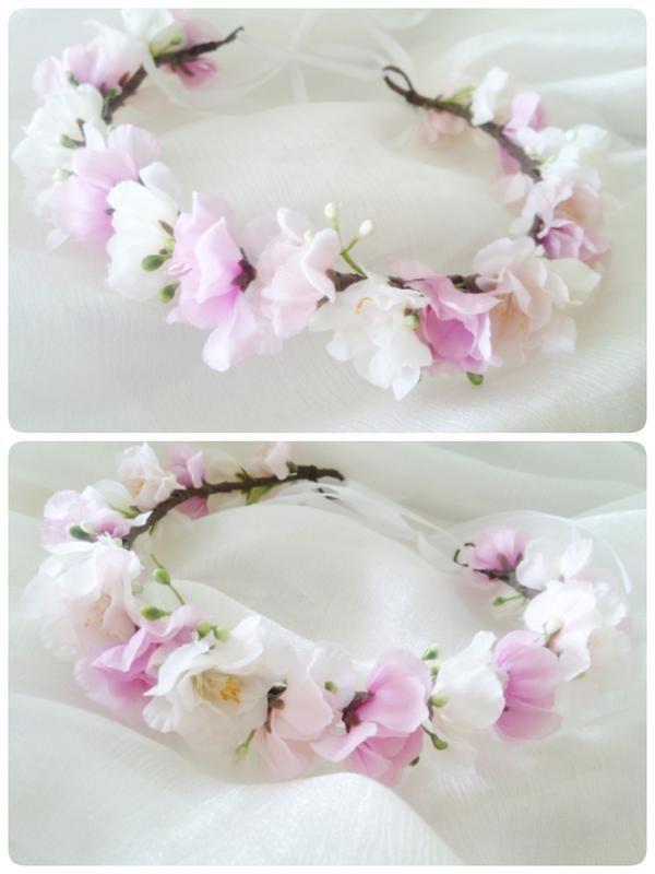 Нежный веночек с цветением, розовый венок с сакурой, ободочек с сакурой за 200 грн.