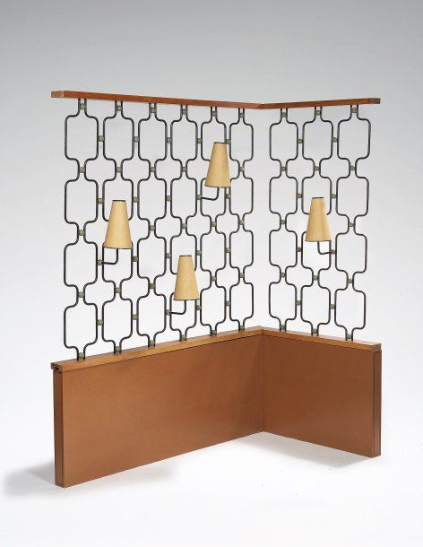 Jean Royère; Oak, Brass and Enameled Metal Room Divider with Integrated…
