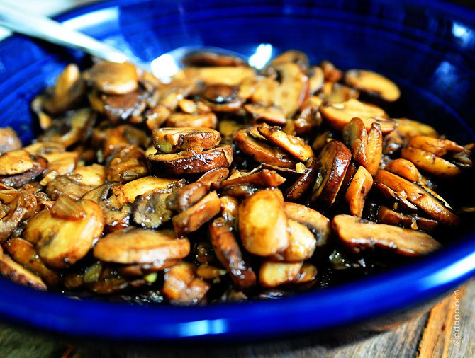 Simple and Delicious Mushroom Sauté Recipe with butter, olive oil, garlic, shallots, portabello mushroom, white mushrooms, chicken stock, salt, pepper