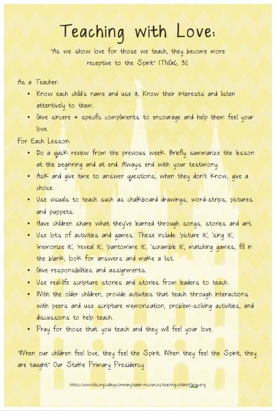 A handout for a primary teacher in-service including using effective teaching strategies for children while teaching by the spirit. These would be great ideas for teaching young children during FHE as well. Pulled from resources on LDS.org.
